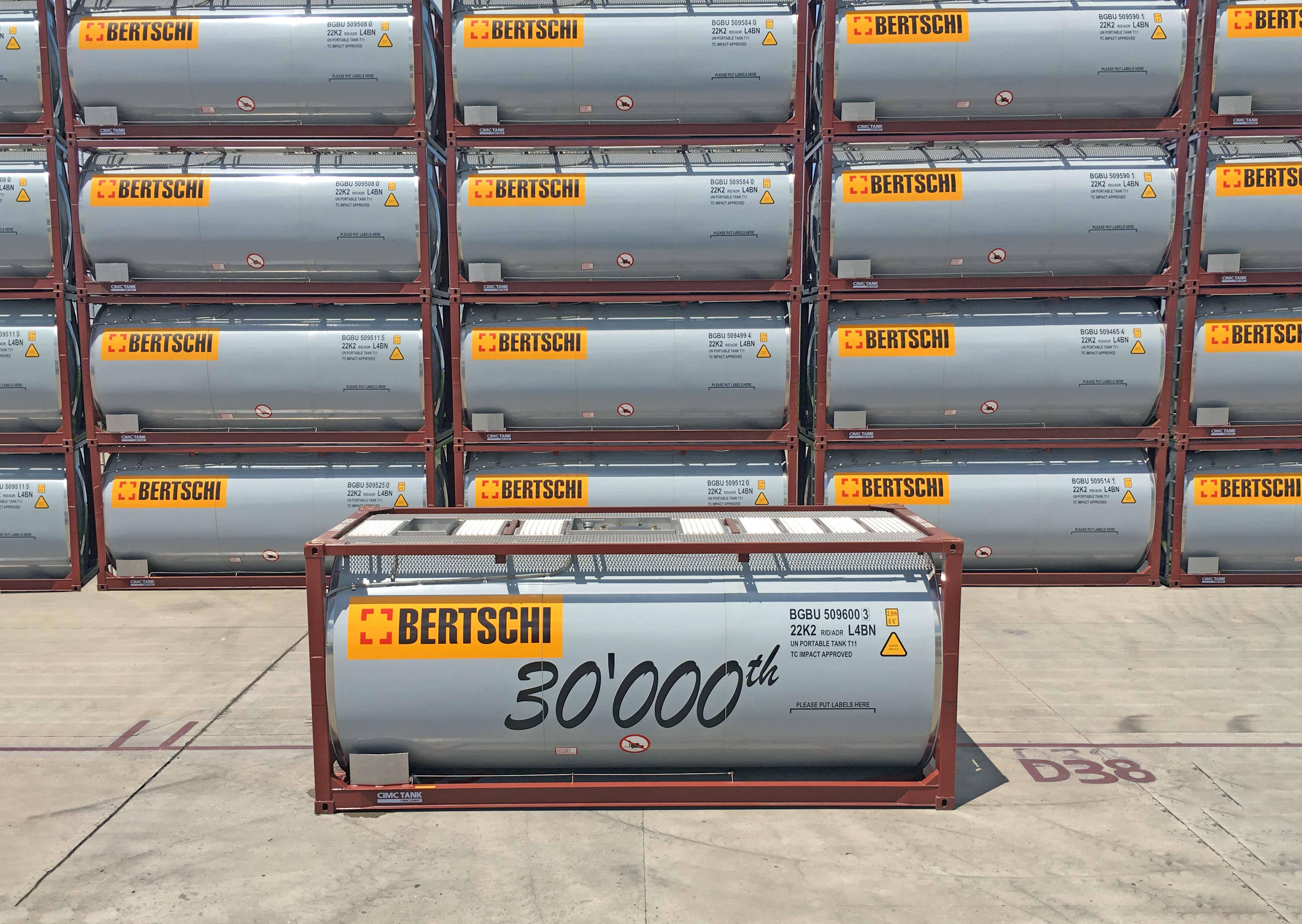 In August of this year, Bertschi is able to add the 30,000th container to its fleet. This comprises tank and silo containers that are used for transportation within Europe and global deep sea traffic, in particular for the chemical industry.